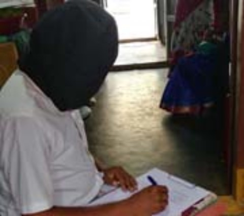 "Mirror writing ""Vandemataram"" within 2.52 minutes while being blindfolded"